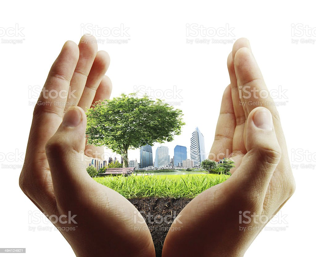 human hand holding  city stock photo