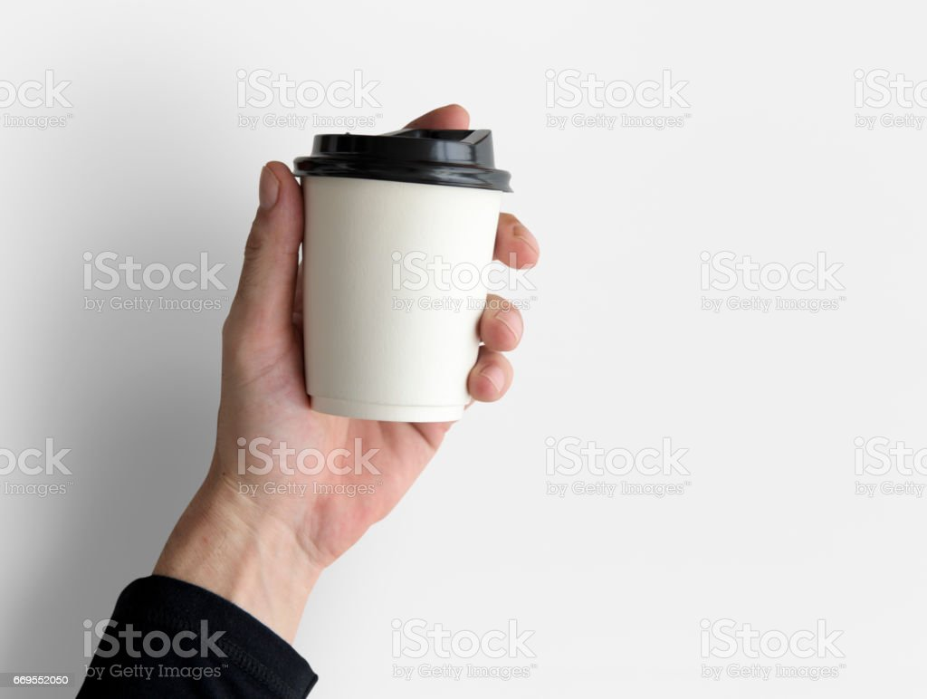 Human Hand Holding Coffee Cup Morning Drinks stock photo