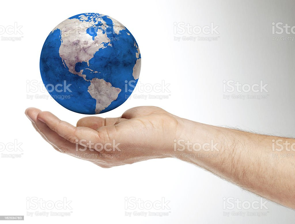 Human Hand holding earth royalty-free stock photo
