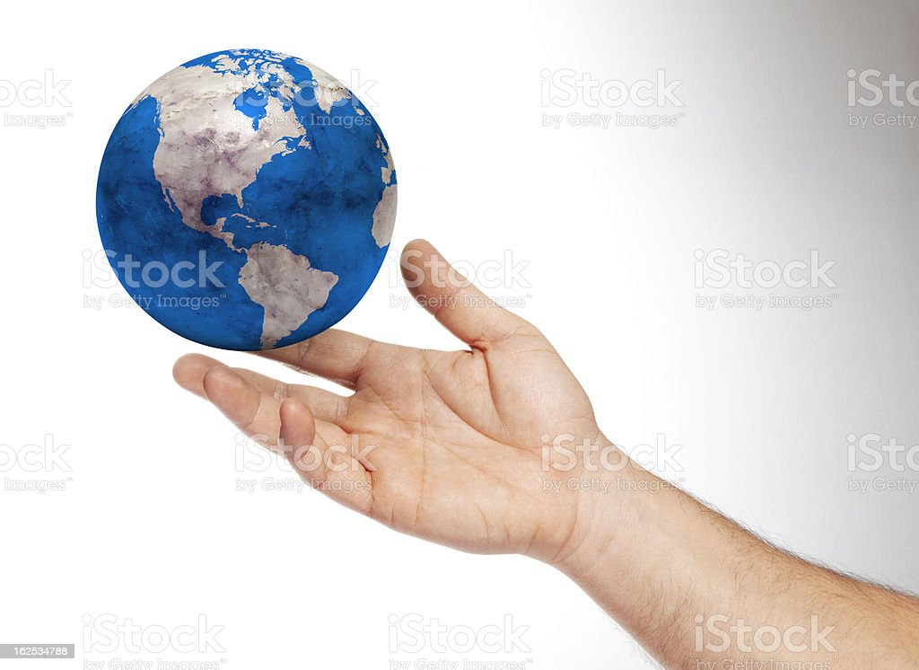 Human Hand holding earth royalty-free stock photo