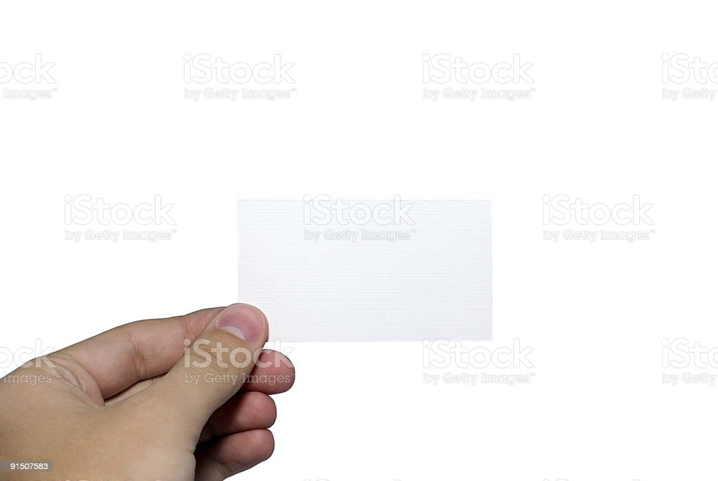 Human hand holding empty visit card. royalty-free stock photo