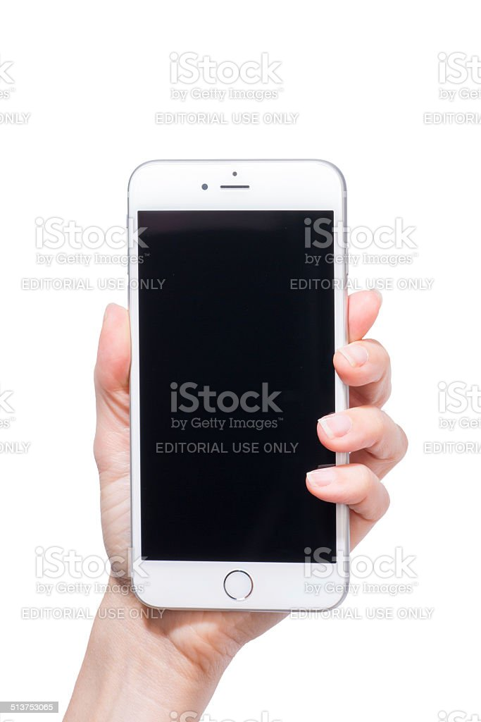 Human Hand Holding Iphone 6 Plus with Black Screen isolated stock photo