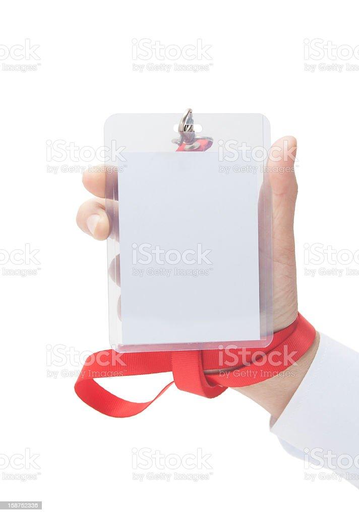 human hand holding Name Tag royalty-free stock photo