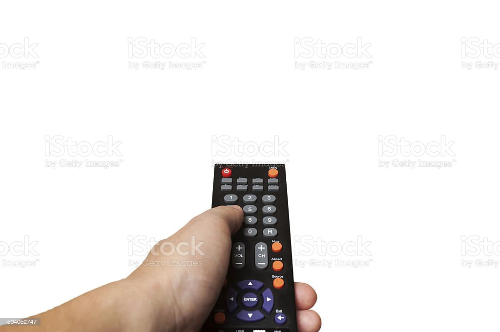 Human hand holding remote control isolated on white background stock photo