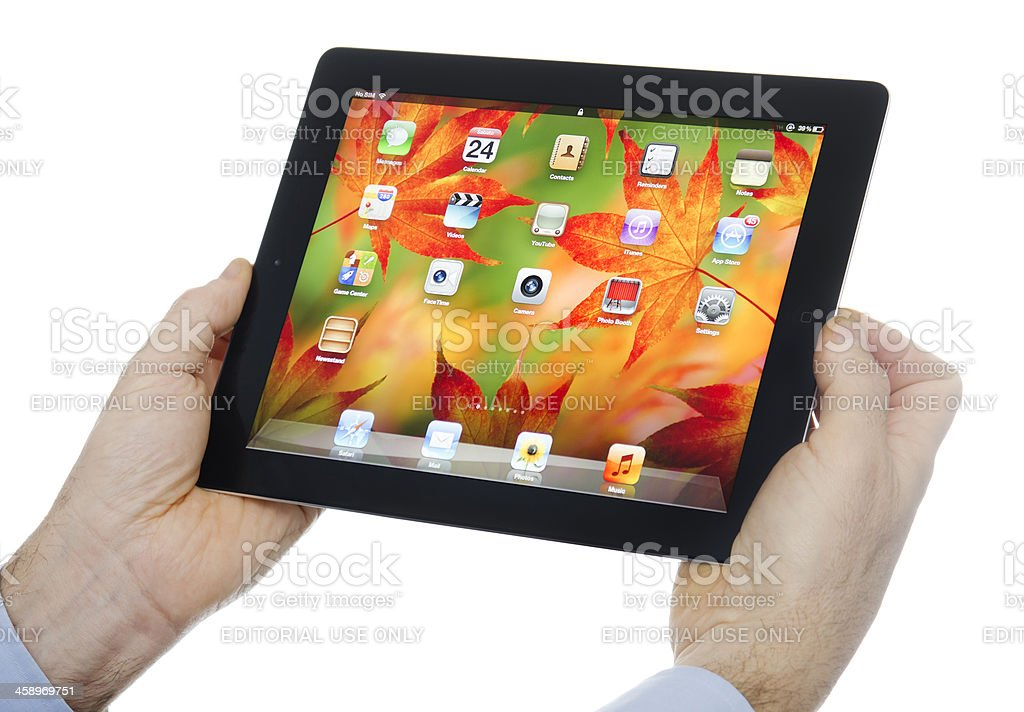 Human hand holding the new Ipad 3 on white stock photo
