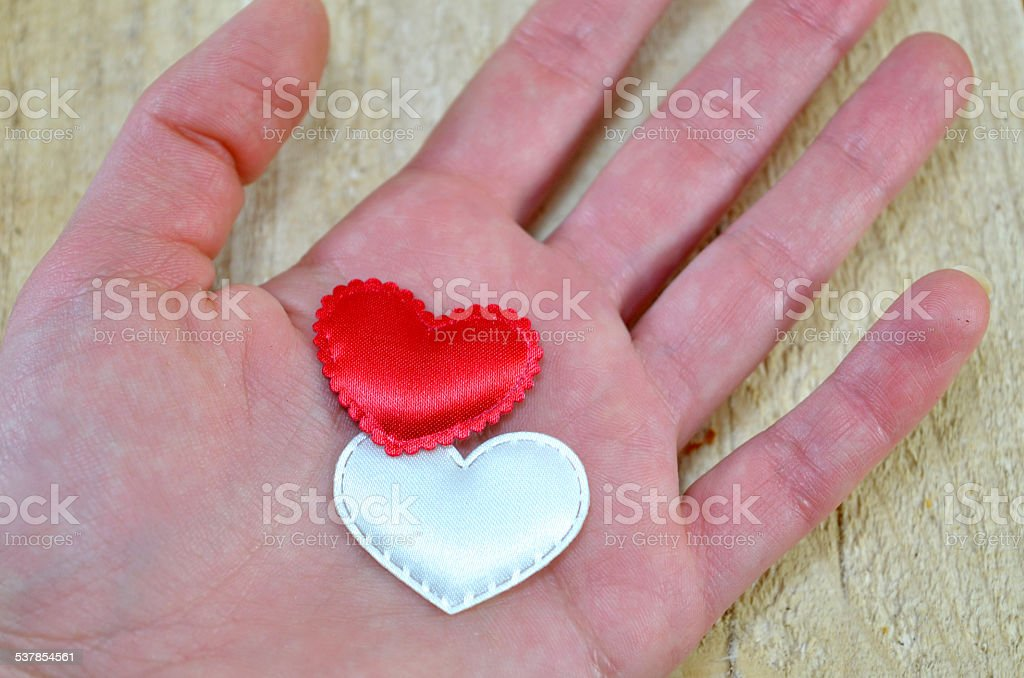 Human hand holding two hearts royalty-free stock photo