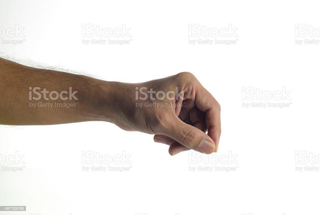 Human hand holding virtual pen, stock photo