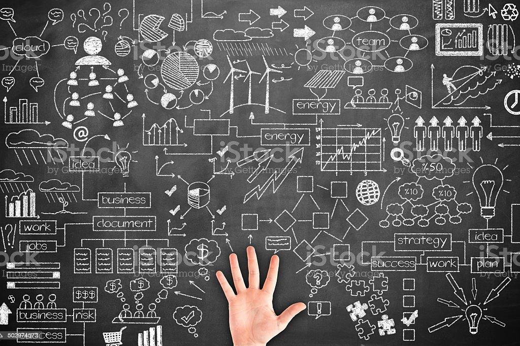 Human hand Idea Concept on blackboard stock photo