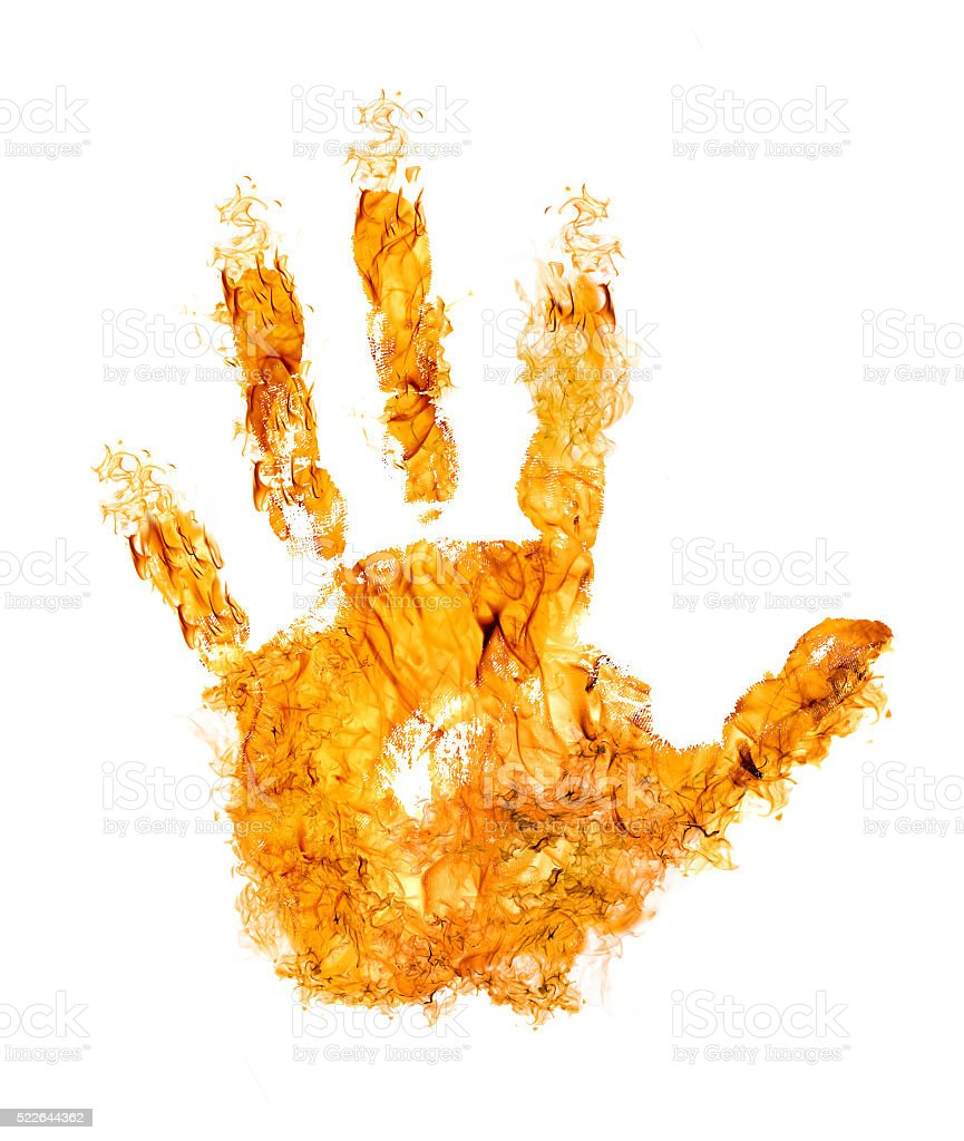 human hand in orange flame on white stock photo