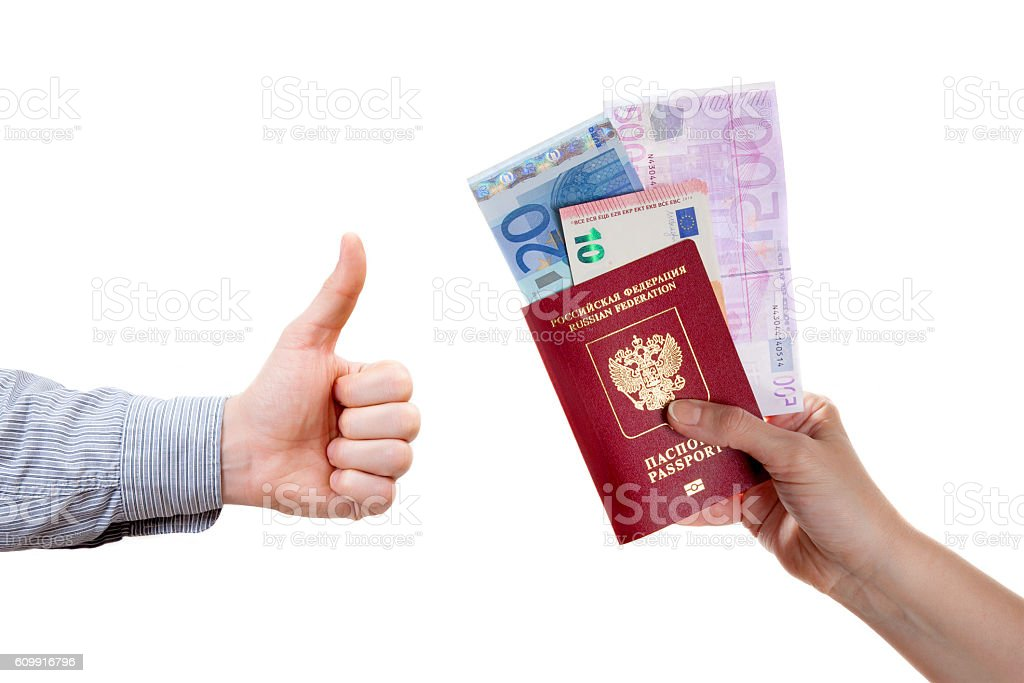 Human hand is holding passport and euro banknotes stock photo