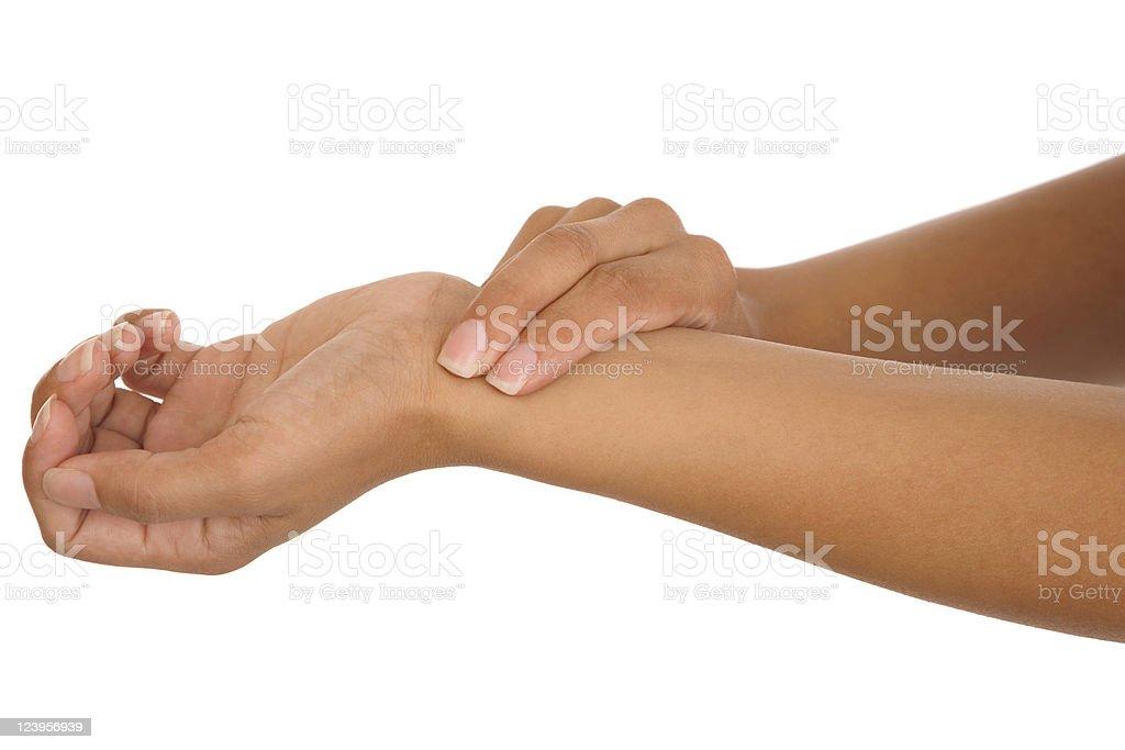 human hand measuring arm pulse stock photo