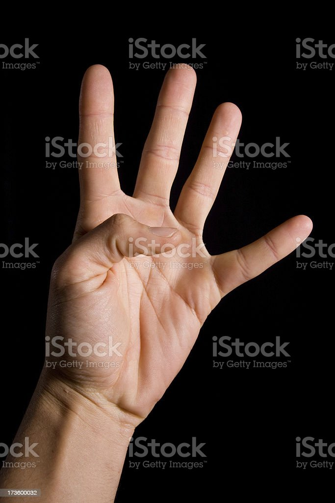 human hand , number four royalty-free stock photo