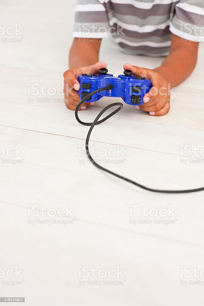 Human hand playing video game stock photo