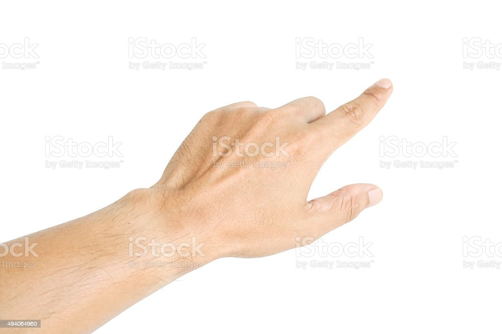 Human hand point something stock photo