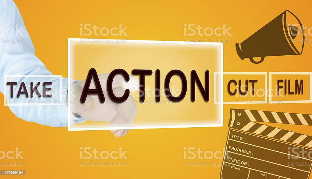 Human hand point the action button royalty-free stock photo