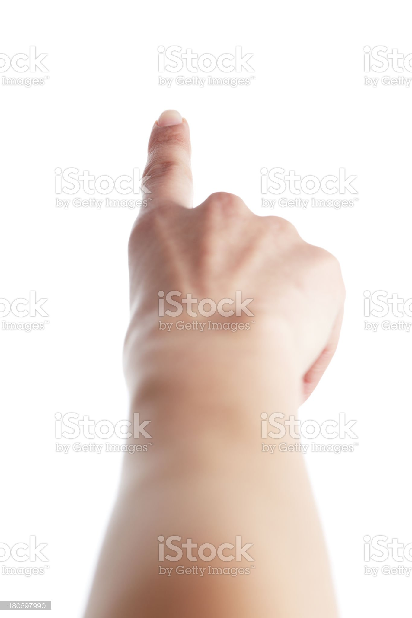 A human hand pointing in the direction outward  royalty-free stock photo
