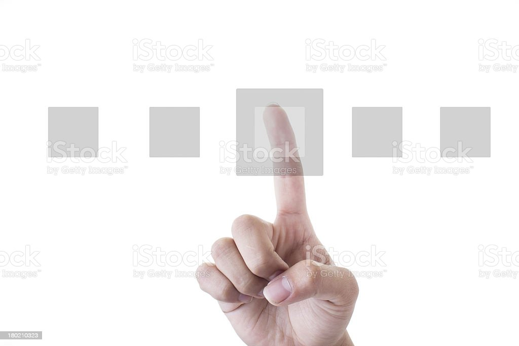 Human Hand Pointing squares Over White Background royalty-free stock photo