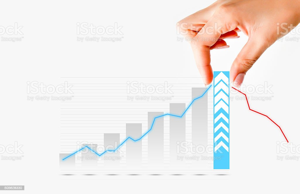 Human hand pulling graph bar suggesting increase of  business stock photo
