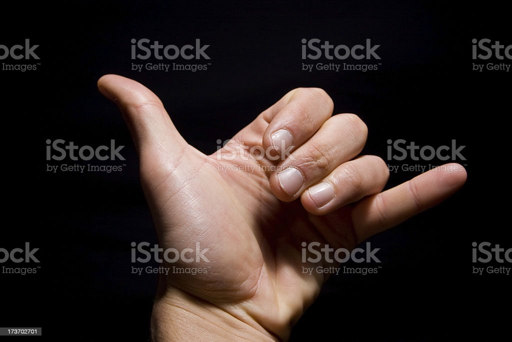 human hand , shaka sign , letter Y royalty-free stock photo