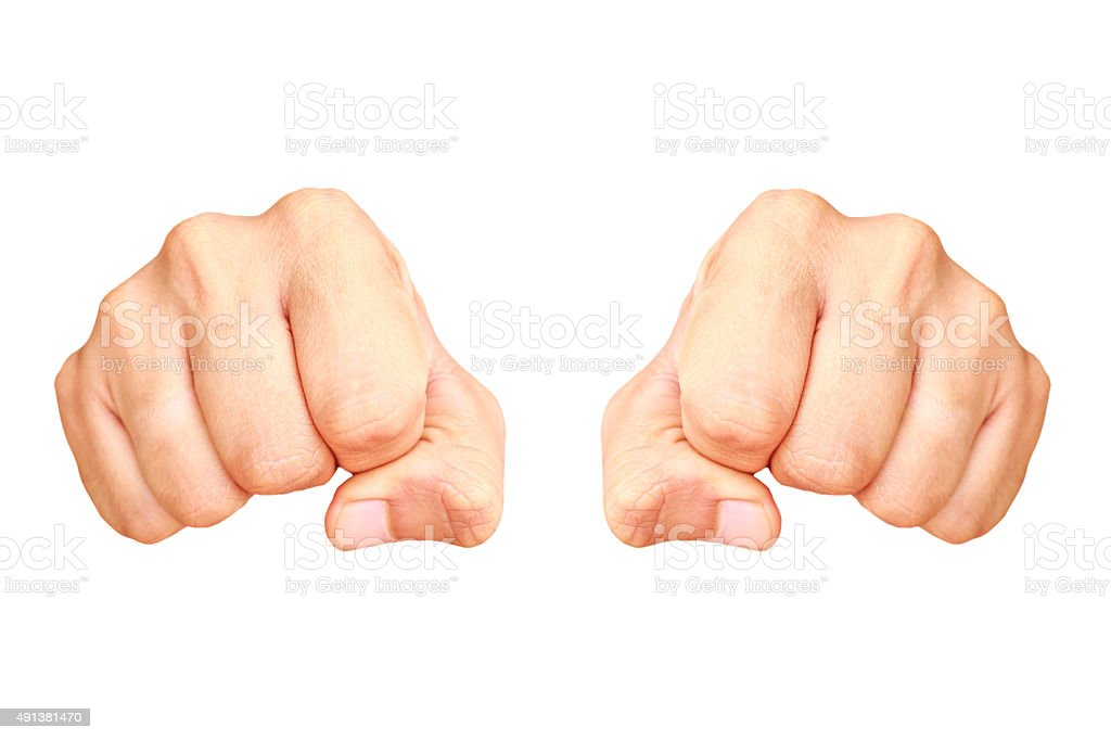 Human hand showing clenched fist isolated stock photo