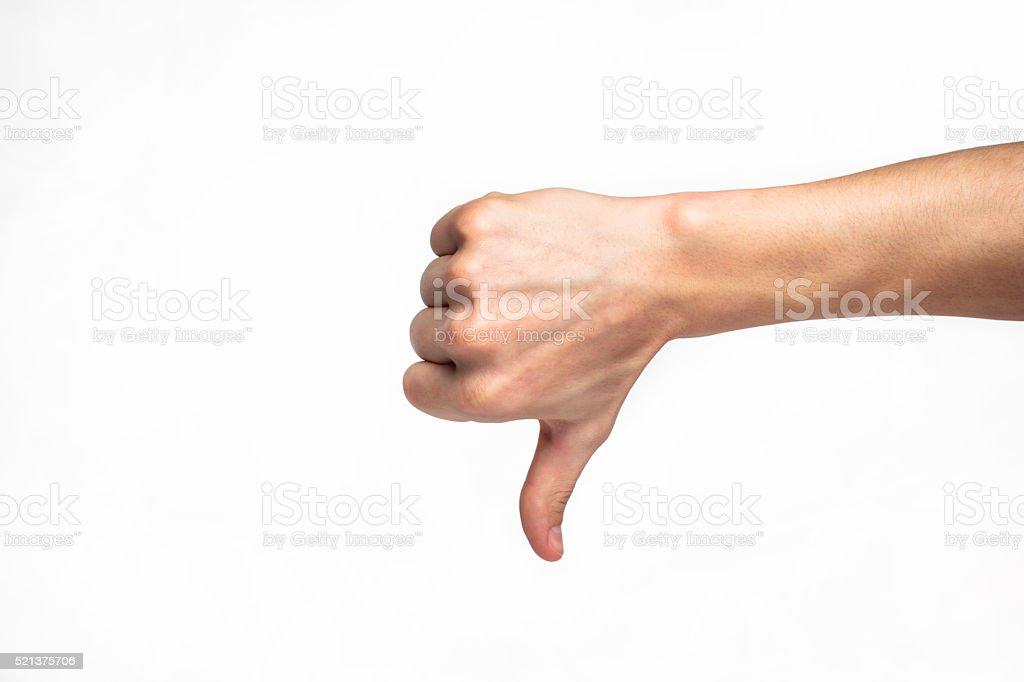 human hand showing thumb down stock photo
