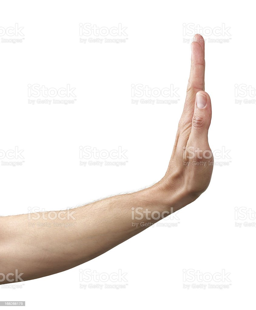 human Hand signing stop stock photo