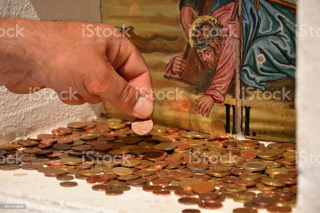 Human hand that gives money, close up. stock photo