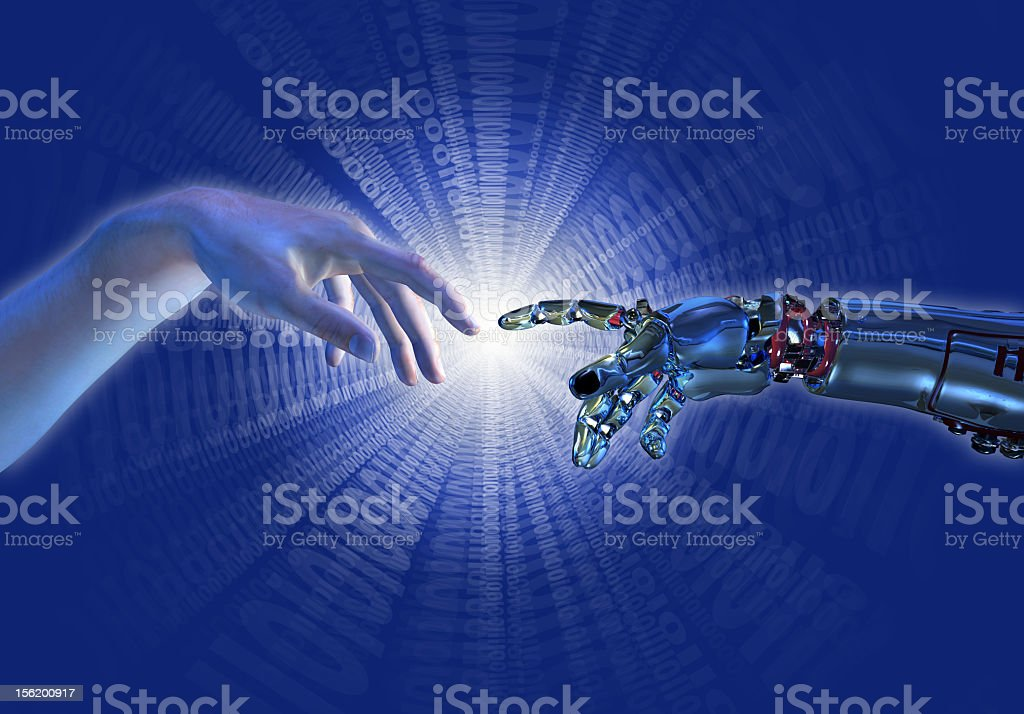 A human hand touching a hand of a robot stock photo