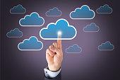 Human Hand Touching Cloud Computing Button on Visual Screen