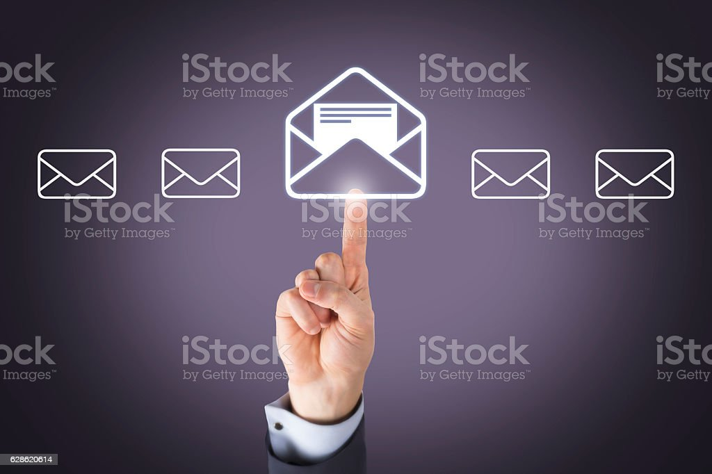 Human Hand Touching Email Button on Screen stock photo