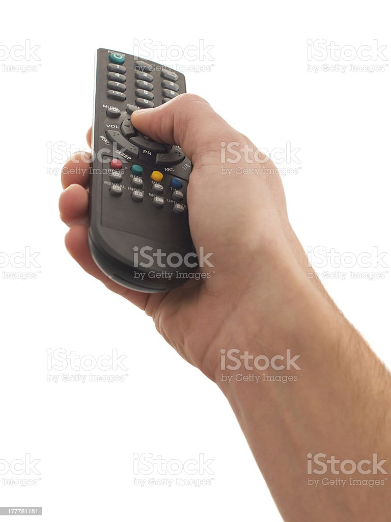 Human Hand Using Remote Control royalty-free stock photo