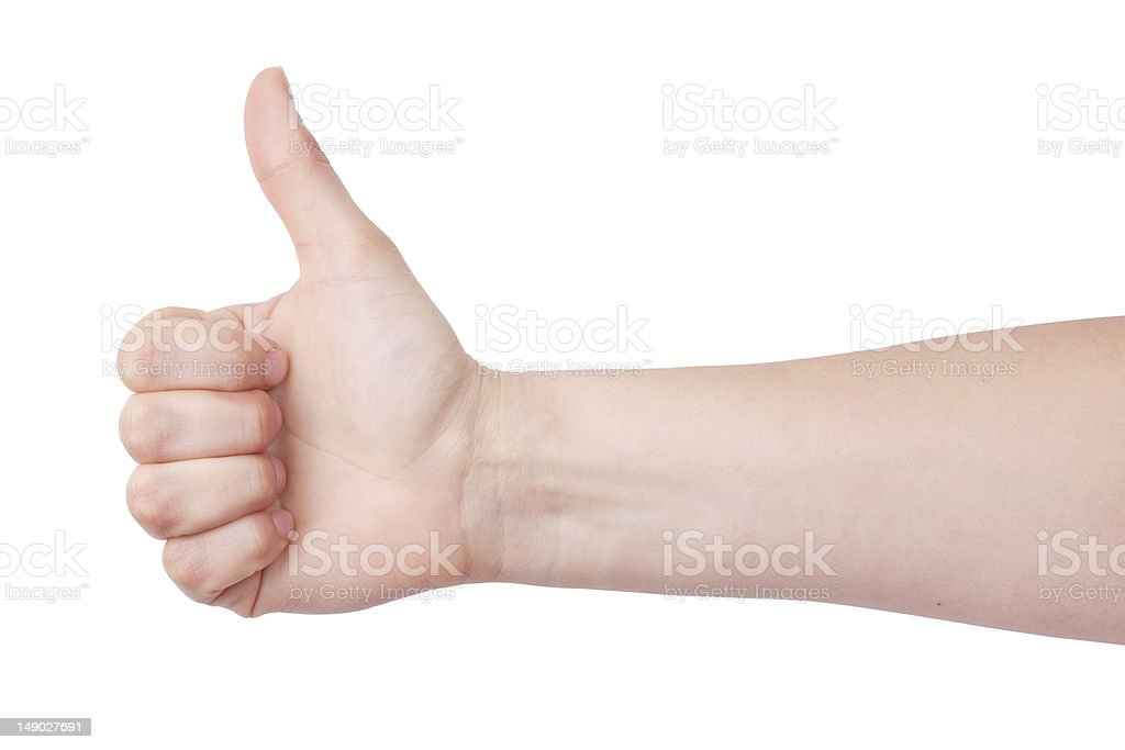 Human hand with a raised thumb royalty-free stock photo