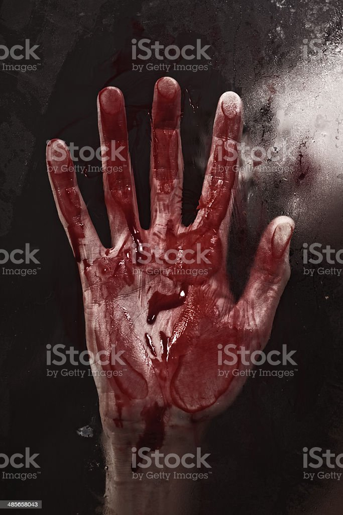 Human hand with blood. stock photo