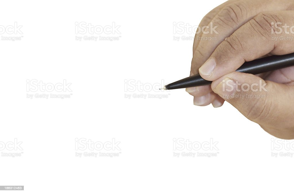Human hand with pen signing royalty-free stock photo