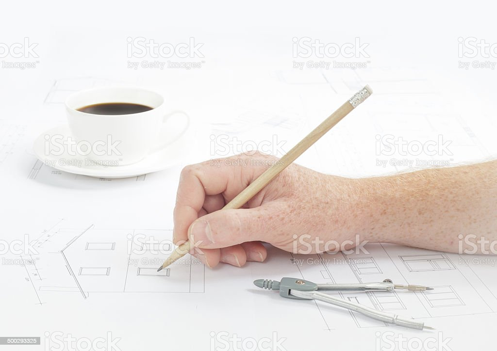 Human hand with pencil. stock photo