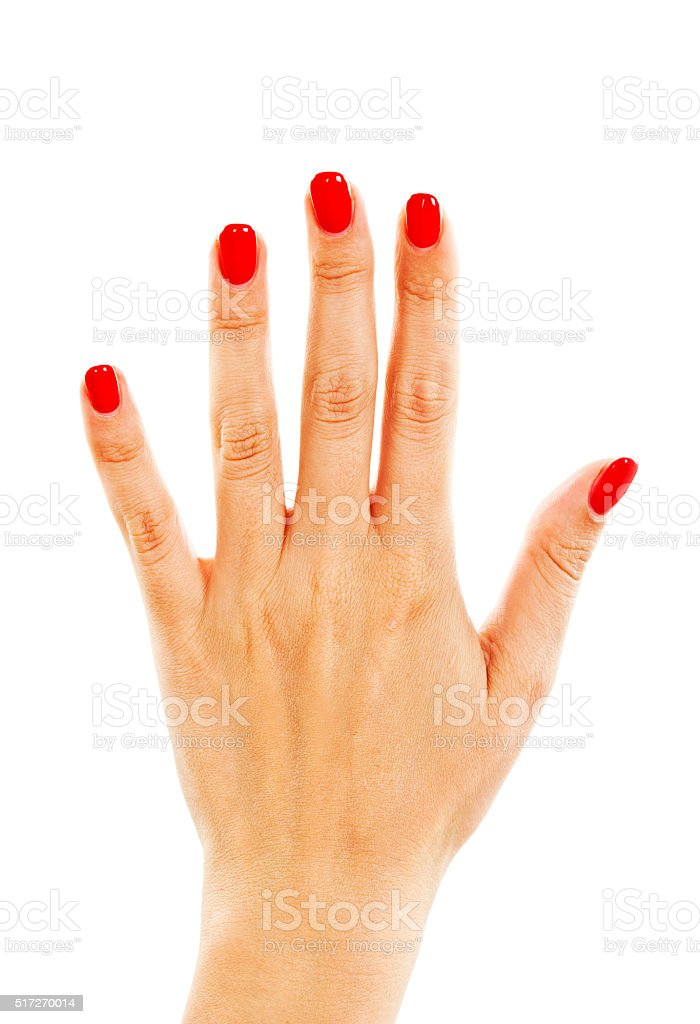 Human hand with red nails stock photo