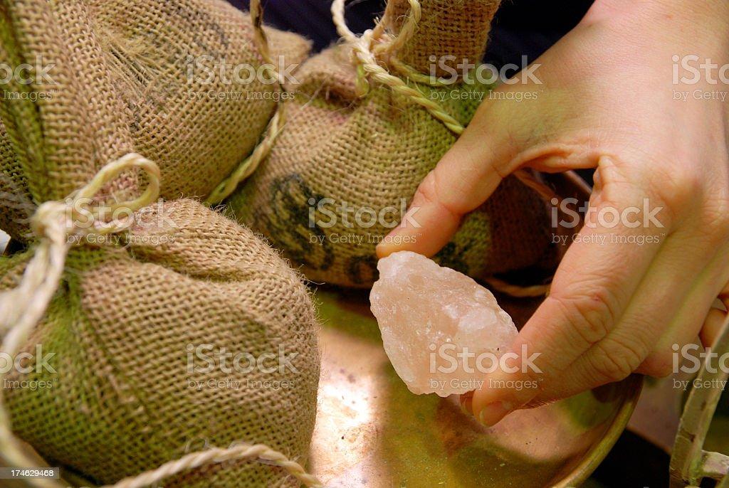 human hand with salt stock photo