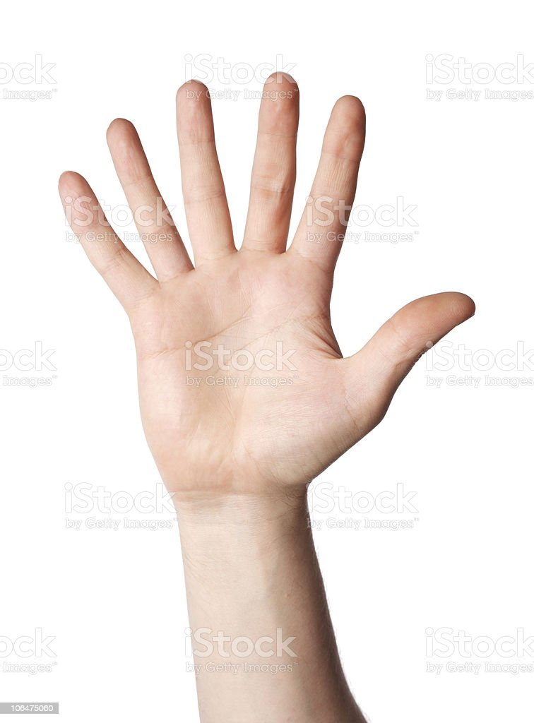 Human hand with six fingers in a white background stock photo
