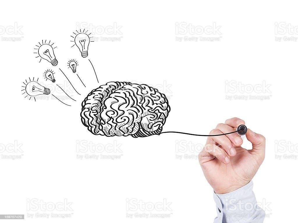 Human Hand Writing Brain on Whiteboard royalty-free stock photo