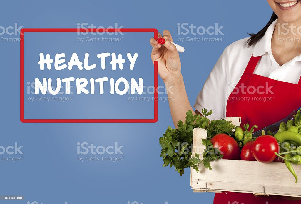 Human Hand Writing Healthy Nutrition Concept on a Whiteboard royalty-free stock photo