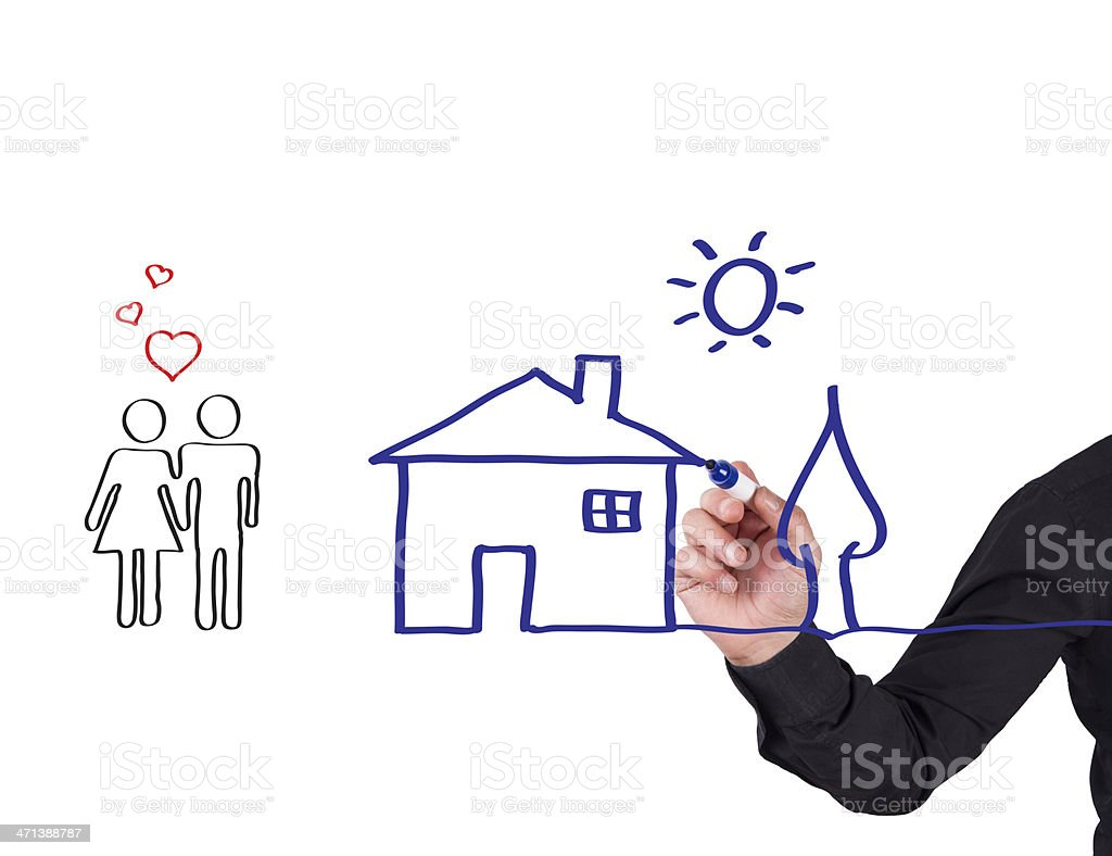 Human Hand Writing House Concept on Whiteboard royalty-free stock photo