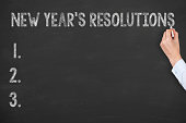 Human Hand Writing New Year Resoulutions on Blackboard