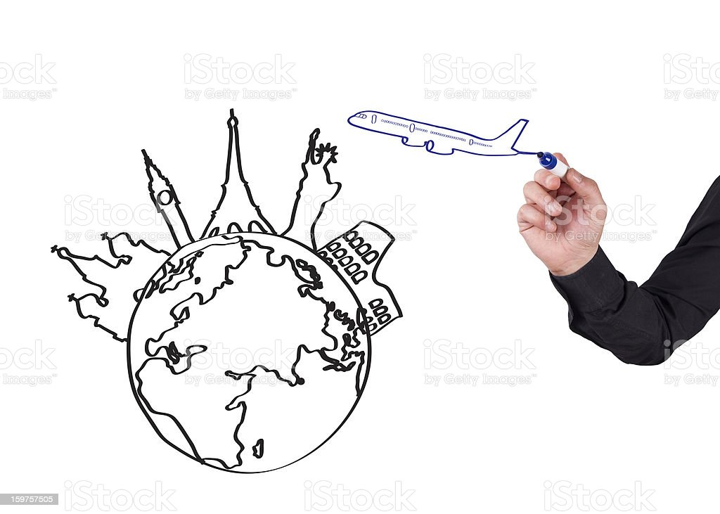 Human Hand Writing Travel Concept on Whiteboard royalty-free stock photo
