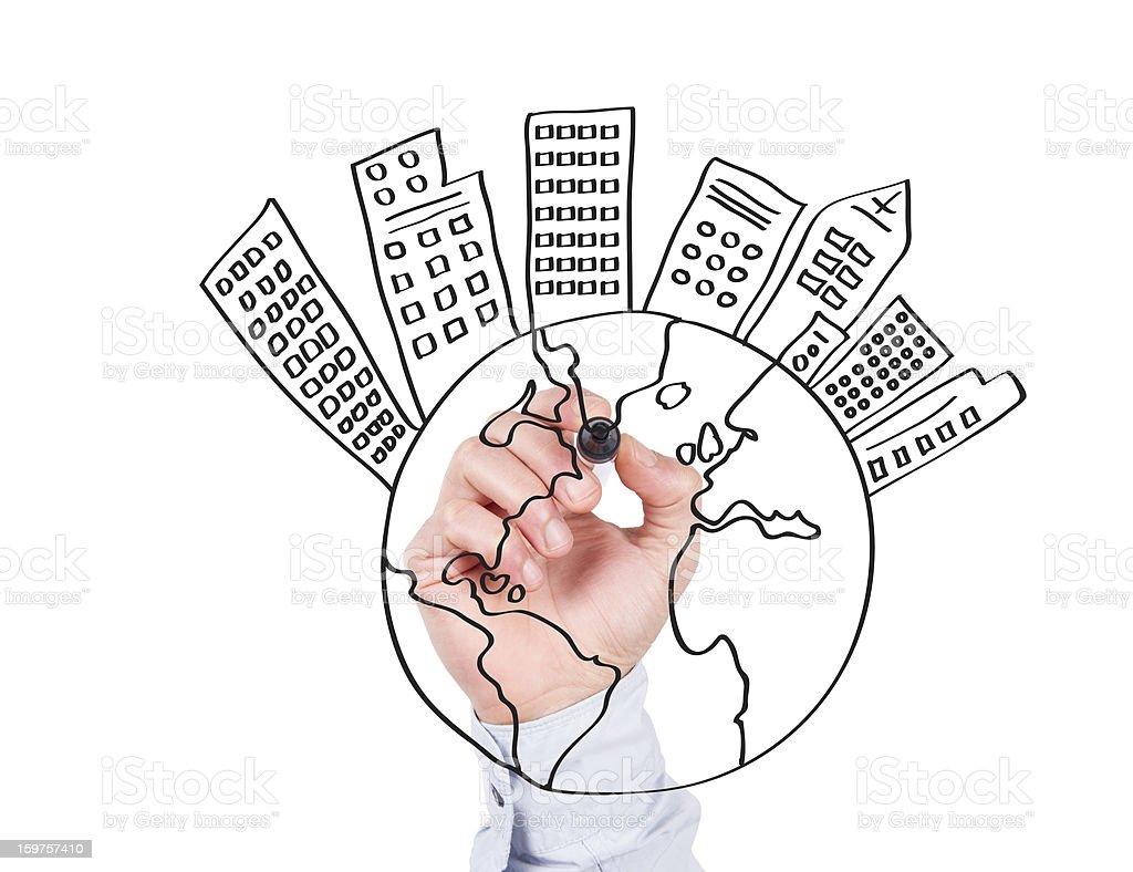Human Hand Writing World Concept on Whiteboard stock photo