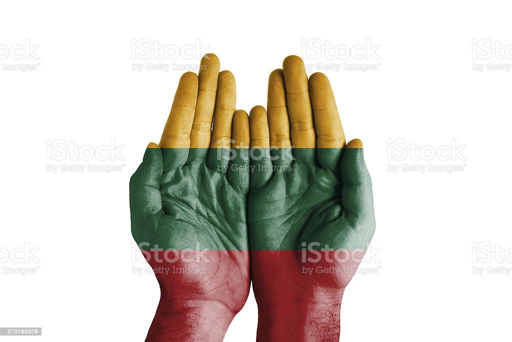 Human Handful Lithuania Flag Painted stock photo