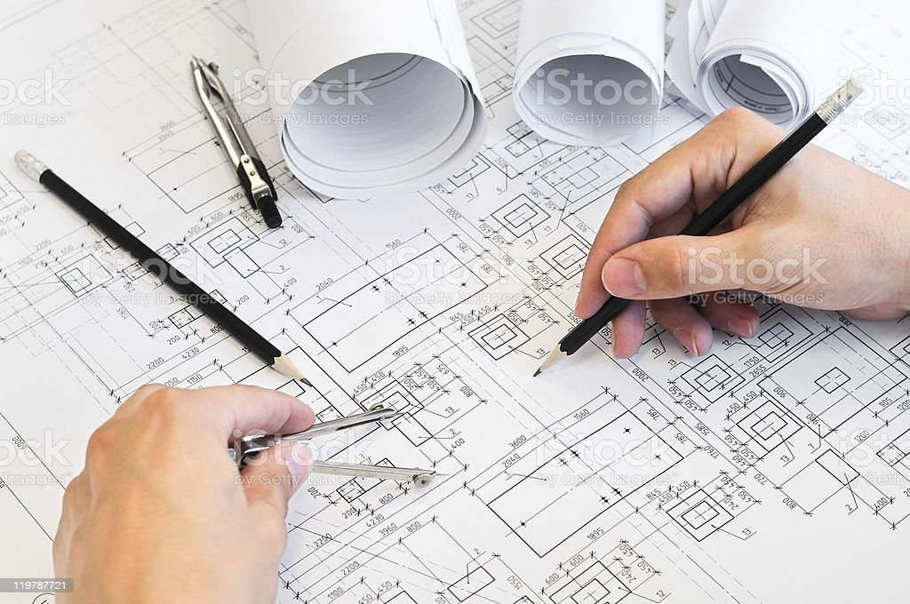 Human hands drawing a project royalty-free stock photo