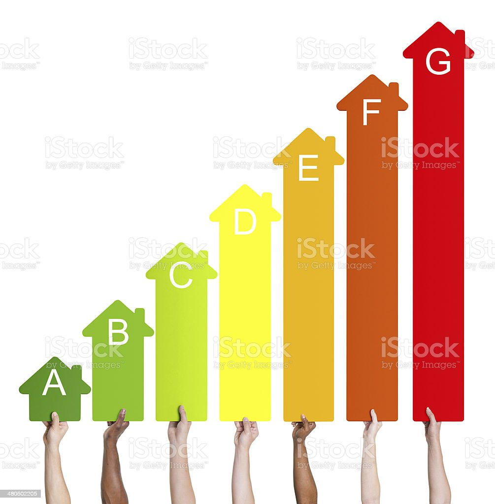 Human Hands Holding House Energy Graph stock photo