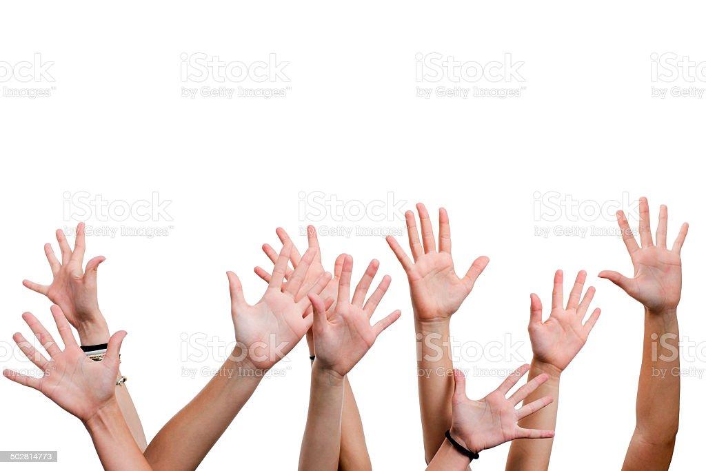 Les mains en l'air. photo libre de droits