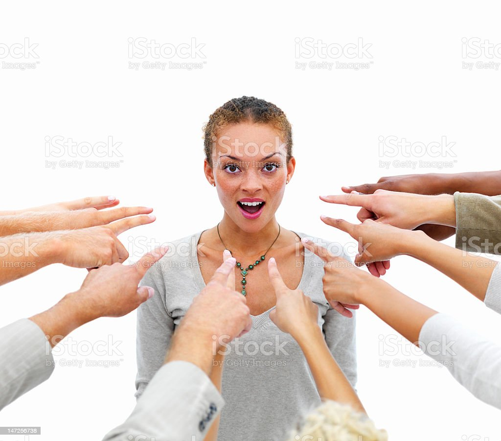 Human hands pointing towards businesswoman royalty-free stock photo