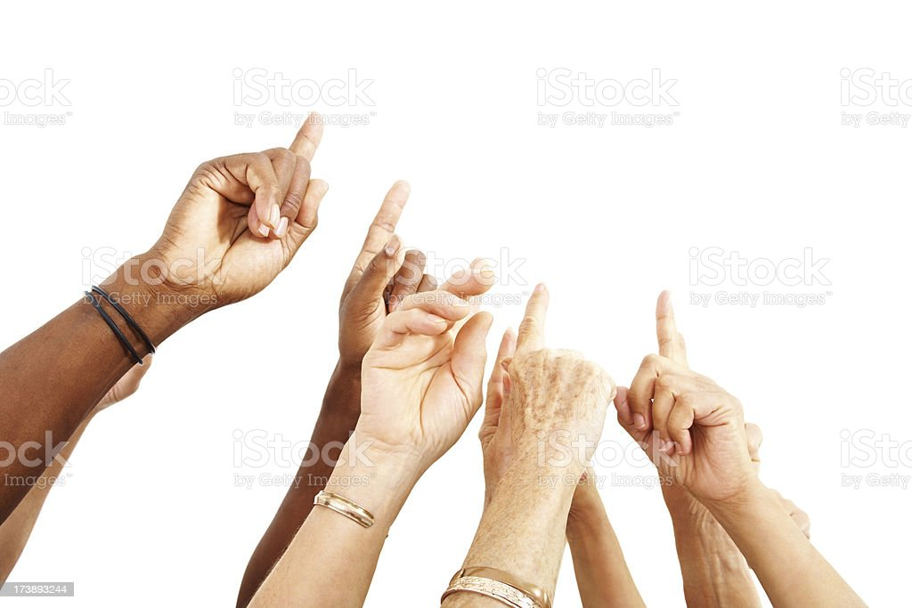 Human hands pointing upwards over white royalty-free stock photo